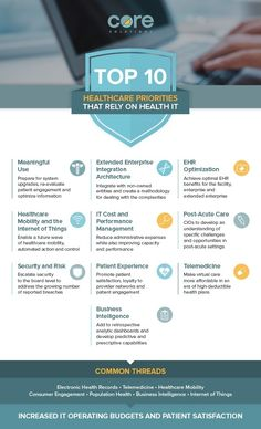 Top 10 Healthcare Priorities that Depend on Health IT #Infographics