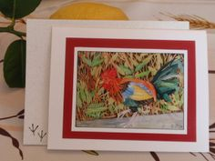 Hey There, Rooster Stationery: original watercolor painting card print