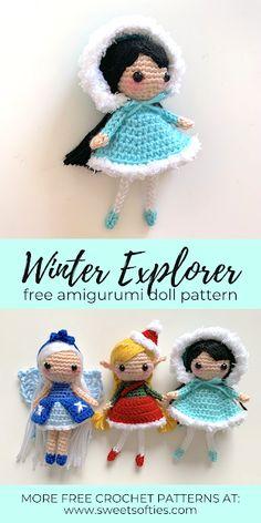 Winter Explorer (Free Amigurumi Crochet Pattern) - Sweet Softies | Amigurumi and Crochet Kawaii Crochet, Cute Crochet, Crochet Crafts, Crochet Baby, Crochet Projects, Crochet Doll Pattern, Crochet Patterns Amigurumi, Amigurumi Doll, Crochet Dolls