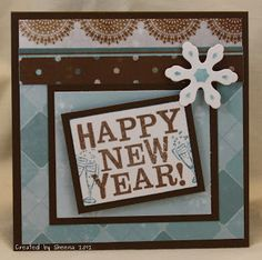 handmade greeting card happy new year papers and stamps are close to my heart snowflake die cut is from spellbinders