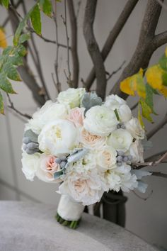 Ivory, silver, and blush bouquet.