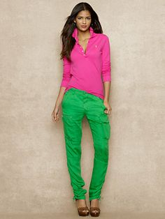 Pink polo shirt, green cargo pants