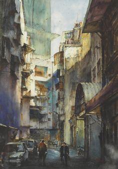 微光城市-1 莊凱評 水彩 112x76cm Watercolour, Watercolor Paintings, Art For Art Sake, Paint Colors, Indian, Artists, Image, Watercolor Painting, Pen And Wash