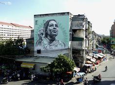 New mural by El Mac was just completed in Phnom Penh, Cambodia.  The work celebrates a local artisan who lives in the building where the mural was painted.  In