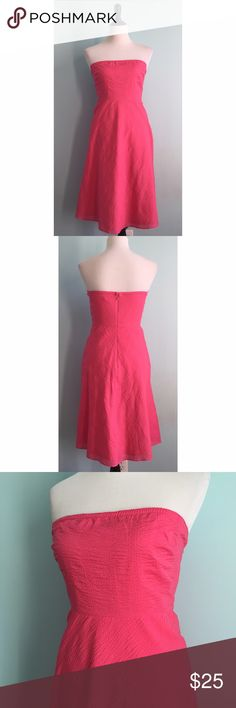 J. Crew Pink Strapless Dress J. Crew pink strapless dress. Size 6P, but could probably fit a normal 6. In excellent condition. J. Crew Dresses Strapless