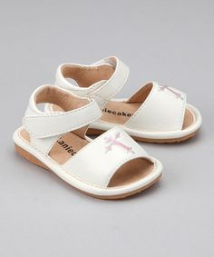 Take a look at this White Cross Squeaker Sandal by Laniecakes on #zulily today!