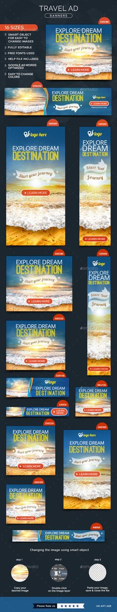 Travel Banners Template #design #banners #web Download: http://graphicriver.net/item/travel-banners/11849414?ref=ksioks