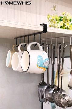 Kitchen Organization Get more space in your kitchen by adding one of these hangers to your cabinet w Diy Kitchen Storage, Kitchen Cabinet Organization, Home Decor Kitchen, Kitchen Interior, Home Organization, Diy Home Decor, Kitchen Design, Cabinet Organizers, Kitchen Shelves