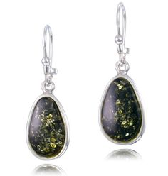green amber and silver drop earrings