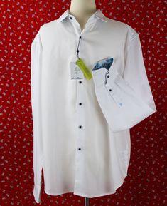 9fe792e8b1af NWT Robert Graham White Shirt Large Classic Fit Niagara Blue Flip Cuffs NEW   RobertGraham