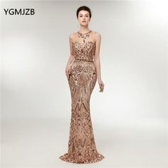 Elegant Long Evening Dress Mermaid New Glitter Sequined Champagne Arabic  Women Formal Party Gown Prom Dress e822191feede