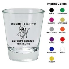 Birthday Shot Glass (Clipart 19111) 50th with coin - Birthday Favors - Personalized Birthday Shot Glasses - Custom Party Favors