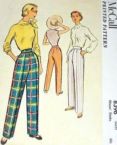 1950s High Waist Pants Slacks Pattern McCall 8369 Classy Side Zipper Trousers Figure Flattering Waist 24 Vintage Sewing Pattern