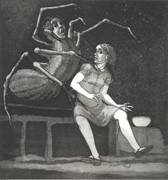 Paula Rego Little Miss Muffet (I) 1989 Etching and aquatint x cm Paper: 52 x 38 cm Série Nursery Rhymes Feminist Art, Gcse Art, Little Miss, Nursery Rhymes, Sculpture, Vulnerability, Printmaking, Book Art, Fairy Tales