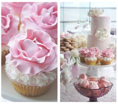 Sweet Flower Cupcakes and Beautiful Lace Christening Cake - Vintage Lace Pink White Christening Party Dessert Table