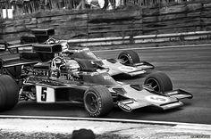 JPS teammates Ronnie Peterson and Jackie Ickx in Lotus 72's during the 1975 race of champions.  Druids Hairpin at Brands Hatch was an excellent bend for getting close to the cars. If you wanted to swap to the other side of the track you could hold up your arm to the marshals and they would wave you across when the track was clear. #F1 #Formula1 #BrandsHatch #Lotus72 #RonniePeterson #JackieIckx #JohnPlayerSpecial