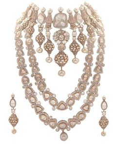 Indian Wedding Jewelry - Three Layered Polki and Diamond Set Royal Jewelry, India Jewelry, Diamond Jewelry, Gold Jewelry, Diamond Pendant, Indian Wedding Jewelry, Bridal Jewellery, Indian Weddings, Real Weddings