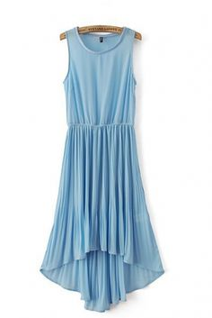 Elastic Waist O-neck Sleeveless Pleating High Low Dress