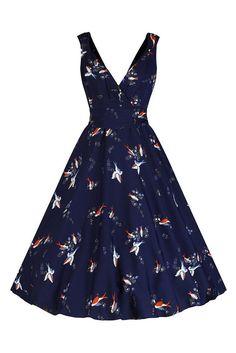 Navy Blue Bird Print Swing Dress