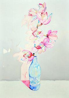 Flowers in a bottle.