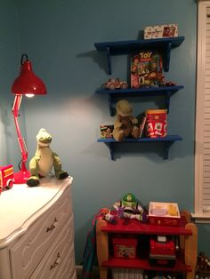 Beautiful I Found The Shelves At Hobby Lobby And Painted Them Blue And My Husband  Found The Lamp At Home Goods. Soon Weu0027ll Add The Star Decals And The  Bedding And We ...