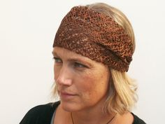 wide boho headband silky brown/copper chunky lace by paleafternoon, $22.00