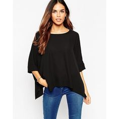 ASOS Oversize Kimono T-Shirt With V Back (€22) ❤ liked on Polyvore featuring tops, t-shirts, black, round neck t shirt, asos, woven top, round neck top and oversized tops