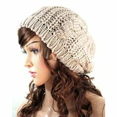 Amazon.com: Women Lady Winter Warm Knitted Crochet Slouch Baggy Beret Beanie Hat Cap (Cream-colored): Clothing
