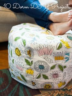 Sewing Projects for The Home - How to Make a Fabric Pouf Ottoman - Free DIY Sewing Patterns, Easy Ideas and Tutorials for Curtains, Upholstery, Napkins, Pillows and Decor Sewing Hacks, Sewing Crafts, Sewing Tips, Sewing Tutorials, Sewing Basics, Sewing Ideas, Learn Sewing, Hair Tutorials, Dyi Couture