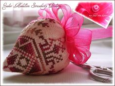 Quaker Medallion Strawberry Pinkeep by Blackbird Designs.  Embroidery, cross stitch, sewing, pincushion