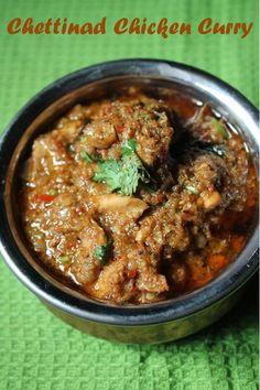 Chettinad Chicken Curry Recipe- Need kadai though Indian Chicken Recipes, Veg Recipes, Spicy Recipes, Indian Food Recipes, Asian Recipes, Cooking Recipes, Chicken Curry Recipes, Kerala Recipes, Chicken Recipes