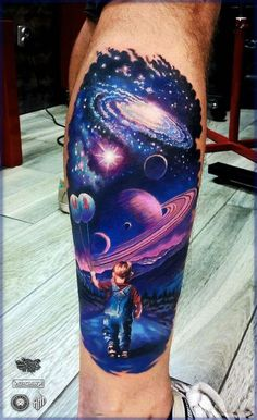 galaxy sky, little boy, holding balloons, back of leg, watercolor tattoo