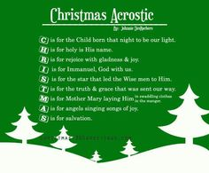 Cute poem idea for the Sunday School Christmas Program!