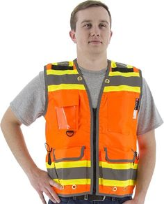 Majestic 75-3236 Hi Vis Orange Premium Heavy Duty Safety Vest ANSI Class 2