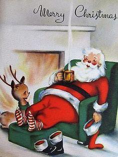 Vintage Christmas Card Santa & Deer Sitting In Front Of Fire National Detroit Vintage Christmas Images, Old Christmas, Old Fashioned Christmas, Christmas Scenes, Retro Christmas, Vintage Holiday, Christmas Pictures, Christmas Crafts, Holiday Images