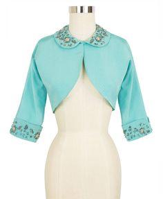 Candice Gwinn Marilyn Bolero   1950s Inspired Jacket   Beaded Pastel Turquoise Ribbed Rayon