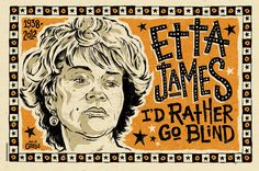 Etta James Blues Folk Art Poster signed by Grego by MojohandBlues