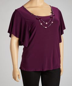 Take a look at the Plum Necklace Cape-Sleeve Top - Plus on #zulily today!