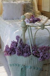 lovely iron bed and lilacs:  Aiken House & Gardens