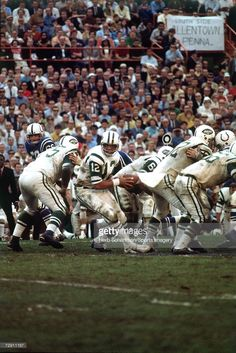 Quarterback Joe Namath of the New York Jets rolls out after the snap against the Baltimore Colts during Super Bowl III at the Orange Bowl on January 1969 in Miami, Florida. The Jets defeated the. Nfl Football Players, Bears Football, Sport Football, Football Moms, Football Stuff, Sports Teams, Nfl Championships, Championship Game, Nfl Today