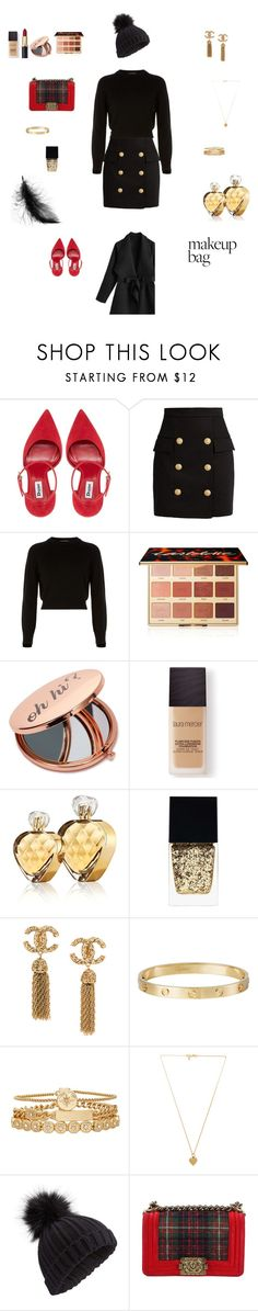 """""""Senza titolo #1583"""" by flucry ❤ liked on Polyvore featuring Balmain, Helmut Lang, tarte, Miss Selfridge, Laura Mercier, Untold, Witchery, Cartier, Treasure & Bond and Vanessa Mooney"""