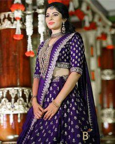 Real Brides Who looked Gorgeous In Their Aubergine Lehengas Half Saree Lehenga, Lehenga Saree Design, Lehenga Designs, Lengha Design, Lehnga Dress, Sarees, Half Saree Designs, Sari Blouse Designs, Bridal Blouse Designs