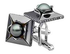 Black Diamond and Tahitian Pearl Mens Cufflinks.  Harry Winston.