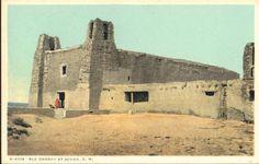 Fred Harvey Postcard -  Old Church at Acoma Pueblo