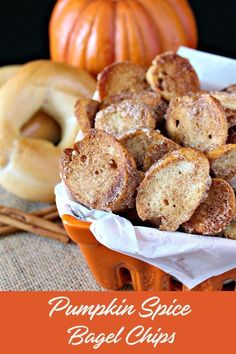 For those times you want something sweet, crunchy, and pumpkin spiced. Homemade Pumpkin Spice Bagel Chips are a delicious Fall treat. Great for an afternoon snack or accompanying your morning pumpkin spice latte. Thanksgiving Recipes, Fall Recipes, Snack Recipes, Thanksgiving Blessings, Bagel Chips, Homemade Chips, Spiced Pecans, Pumpkin Spice Latte, Something Sweet