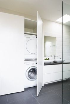 Hidden Laundry Room Bathroom Combo (Hidden Laundry Room Bathroom Combo) design ideas and photos Hidden Laundry Room Bathroom Combo Laundry In Bathroom, House Bathroom, Laundry Mud Room, Bathroom Layout, Shower Room, Hidden Laundry, Laundry, Bathroom Design, Room Layout