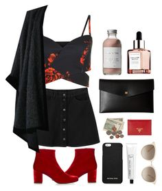 """""""i feel it coming"""" by tiana-thalia ❤ liked on Polyvore featuring Yves Saint Laurent, Monki, Bare Escentuals, French Girl, Lodis, Prada, MICHAEL Michael Kors, Chopard and L:A Bruket"""