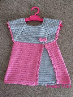 27 Best Ideas For Knitting Baby Vest Pattern Link Crochet Baby Dress Pattern, Crochet Yoke, Knit Baby Dress, Baby Girl Crochet, Crochet Baby Clothes, Crochet Jacket, Baby Knitting Patterns, Baby Patterns, Baby Vest
