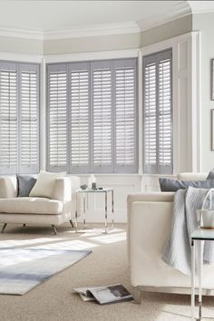 Tonal greys and light creams make a lovely modern neutral decor, mix different textures and effects to pull the look together. Our House Beautiful Shutters range are a perfect addition to the theme. The collection takes its inspiration from the shifting skyscape, with ten exclusive colours in soft pastel shades. www.hillarys.co.uk/ www.hillarys.co.uk/