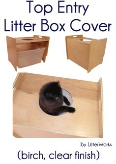Top Entry Litter Box Cover (birch, clear finish) by LitterWorks  - Price: $129.00 - #catlitterboxfurniture #cat #litter #box #furniture - http://www.catbedandtoy.com/cat-litter-box-furniture